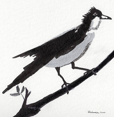 Mixed Media - Zen Sumi Bird 1b Ink On Watercolor Paper By Ricardos by Ricardos Creations