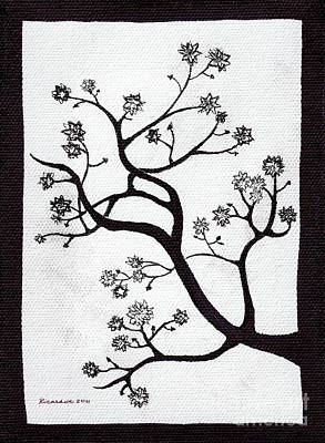 Drawing - Zen Sumi Bush Black Ink On White Canvas By Ricardos by Ricardos Creations