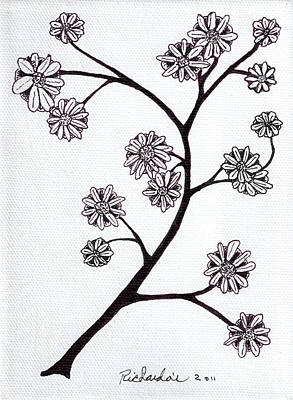 Mixed Media - Zen Sumi Flower Branch Black Ink On White Canvas Ricardos by Ricardos Creations