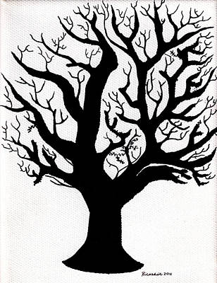 Mixed Media - Zen Sumi Tree Of Life Enhanced Black Ink On Canvas By Ricardos by Ricardos Creations