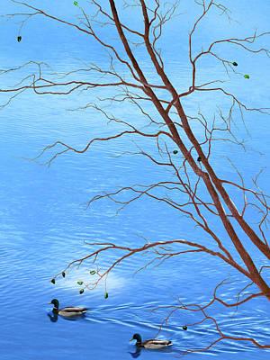 Fallen Leaf On Water Mixed Media - Zen Tree - Autumn Waterscape by Rayanda Arts