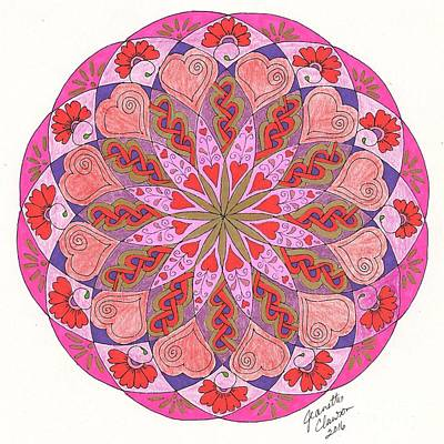 Wall Art - Drawing - Zendala Valentine by Jeanette Clawson