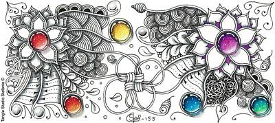 Wall Art - Drawing - Zengem Tangle Art by Stefanie Van Leeuwen