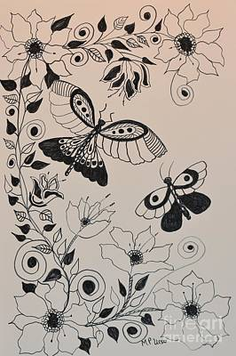 Drawing - Zentangle 16-03 by Maria Urso