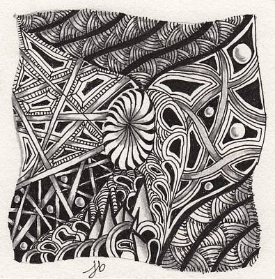 Drawing - Zentangle Abstract 1 by Jan Steinle