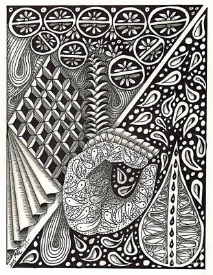 Asl Drawing - Zentangle Art D Hand by Martha Cuzzolino