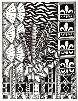 Asl Drawing - Zentangle Art F Hand by Martha Cuzzolino