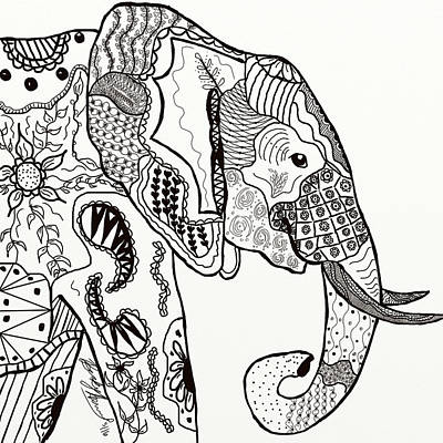 Drawing - Zentangle Elephant by Becky Herrera