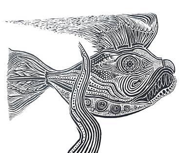 Zentangle Fish Art Print by Steve  Hester