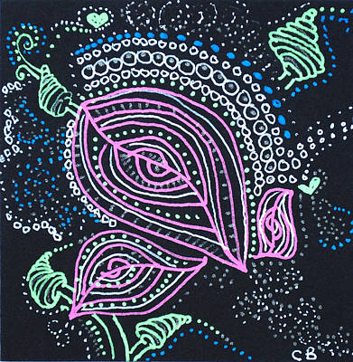 Drawing - Zentangle Flower by Carole Brecht