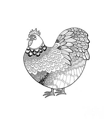 Rosedahl Drawing - Zentangle-inspired Orpington Chicken by Sarah Rosedahl