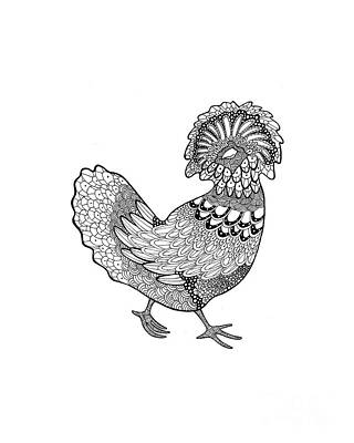 Rosedahl Drawing - Polish From Difficult Chickens Coloring Book by Sarah Rosedahl