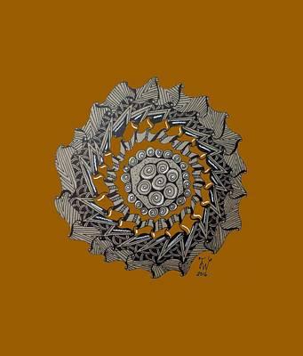 Drawing - Zentangle Shield  by Joyce Wasser