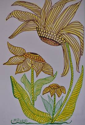 Drawing - Zentangle Sunflowers by Maria Urso