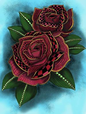 Painting - Zentangle Tattoo Rose Colored by Becky Herrera