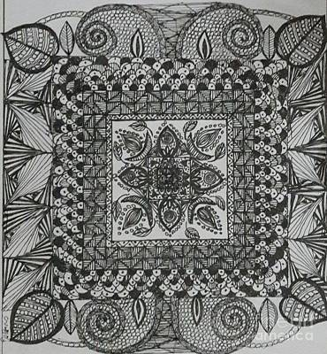 Drawing - Zentangle by Usha Rai