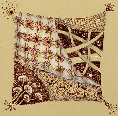 Netting Drawing - Zentangle  Web Of Life by Cecie McCaffery