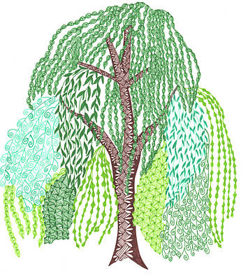 Zentangles Drawing - Zentangled Willow Tree by Sharon White