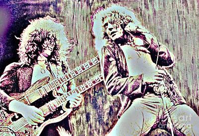 Jimmy Page Digital Art - Zeppelin Concert On Wood  by Natalie Ortiz