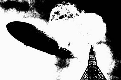 Zeppelin Hindenburg Explosion Graphic Art Print