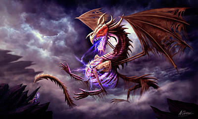 Digital Art - Zerolios - Bone Lighting Dragon by Anthony Christou
