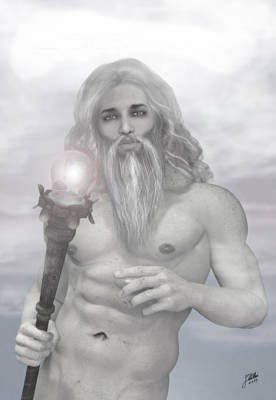Greek Art Mixed Media - Zeus As Gray Wizard by Joaquin Abella