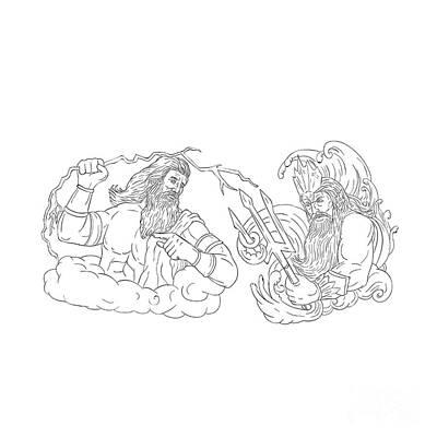 Zeus Digital Art - Zeus Vs Poseidon Black And White Drawing by Aloysius Patrimonio
