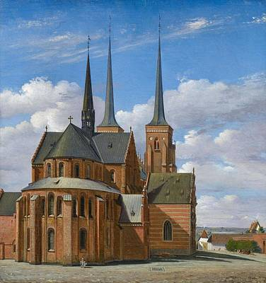 Painting - Zeuthen  Christian Olavius 1812 Kastrup - 1890   Cathedral In Roskilde by Artistic Panda