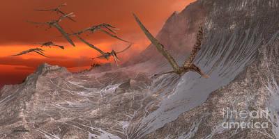 Zhenyuanopterus Painting - Zhenyuanopterus Flying Reptile by Corey Ford