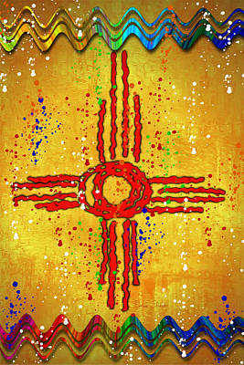 New Mexico Digital Art - Zia Art Splash by Barbara Chichester