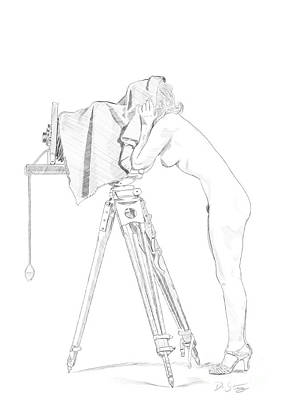 Vintage Camera Drawing - Ziegfeld Follies Girl by David Starry