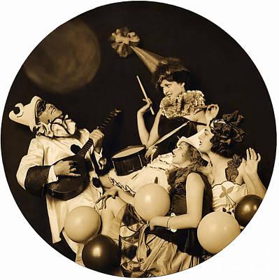 Photograph - Ziegfeld Model  By Alfred Cheney Johnston  Pierrot Serenading Three Beautiful Sexy Women Old Black A by R Muirhead Art