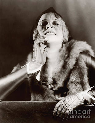 Photograph - Ziegfeld Model  By Alfred Cheney Johnston Stunning Lady In Furs And Gloves by R Muirhead Art