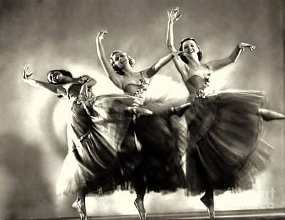 Ziegfeld Model  Dancers By Alfred Cheney Johnston Black And White Ballet Art Print