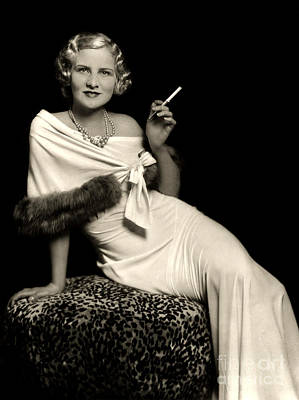 Evening Dress Mixed Media - Ziegfeld Model Reclining In Evening Dress Olding Cigarette By Alfred Cheney Johnston by R Muirhead Art