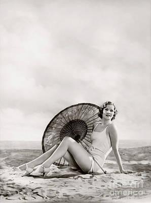 Photograph - Ziegfeld Model Sun Bathing On The Beach  By Alfred Cheney Johnston by R Muirhead Art