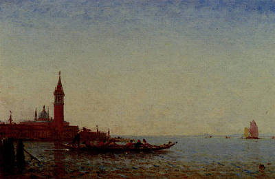 Digital Art - Ziem Felix Gondole Devant St Giorgio Venice by Ziem