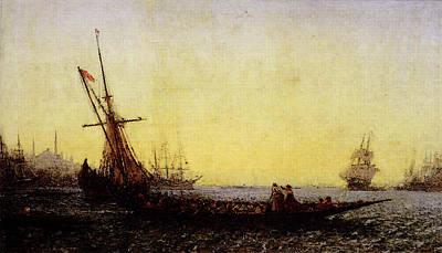 Digital Art - Ziem Felix Harbour In Constantinople by Ziem
