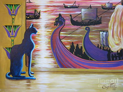 Painting - Zig Of Blaa Kattproduksjoner   Inspects The Ships by Sigrid Tune
