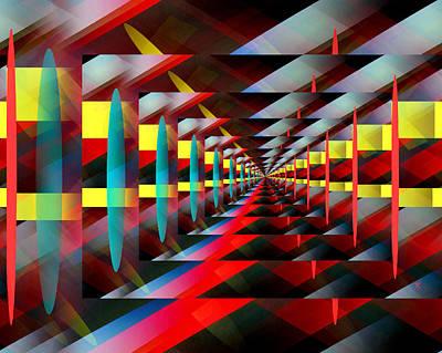 Colorful Abstract Digital Art - Zig Zag by John Krakora
