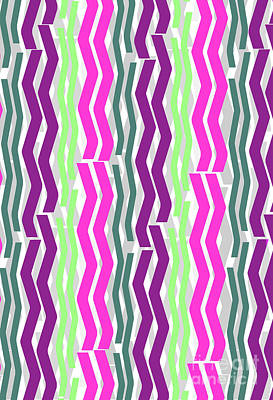 Lime Digital Art - Zig Zig Stripes by Louisa Knight