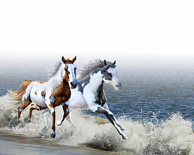 Paint Horse Digital Art - Ziggy's And Annie's Beach Run by Barbara Hymer
