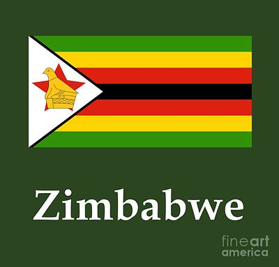 Zimbabwe Flag And Name Original by Frederick Holiday