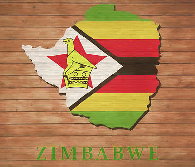 Mixed Media - Zimbabwe Rustic Map On Wood by Dan Sproul