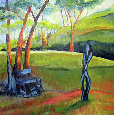 Painting - Zimbabwean Sculpture In Garden by Shuanteya Sherman