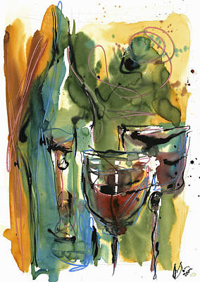 Wine Bottle Painting - Zin-findel by Robert Joyner
