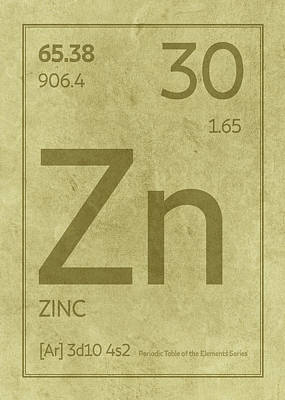 Periodic Table Wall Art - Mixed Media - Zinc Element Symbol Periodic Table Series 030 by Design Turnpike