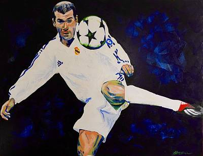 Zinedine Zidane Painting Art Print by Scott Strachan
