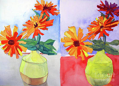 Painting - Zinnia Diptych by Sandy McIntire