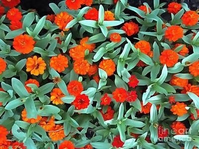 Art Print featuring the photograph Zinnia Flower - Profusion Orange by Janine Riley